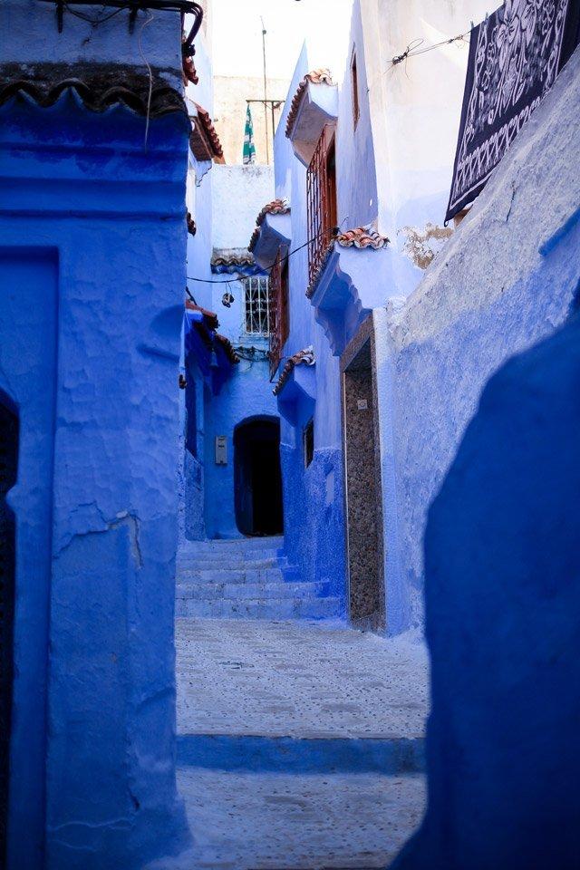 Pasadizos azules de Chefchaouén, Marruecos.