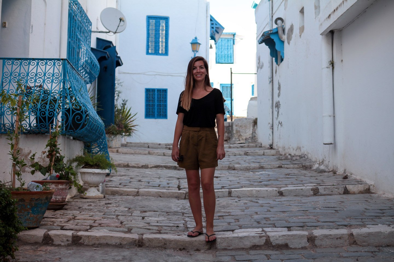 Carla en Sidi Bou Said, Túnez