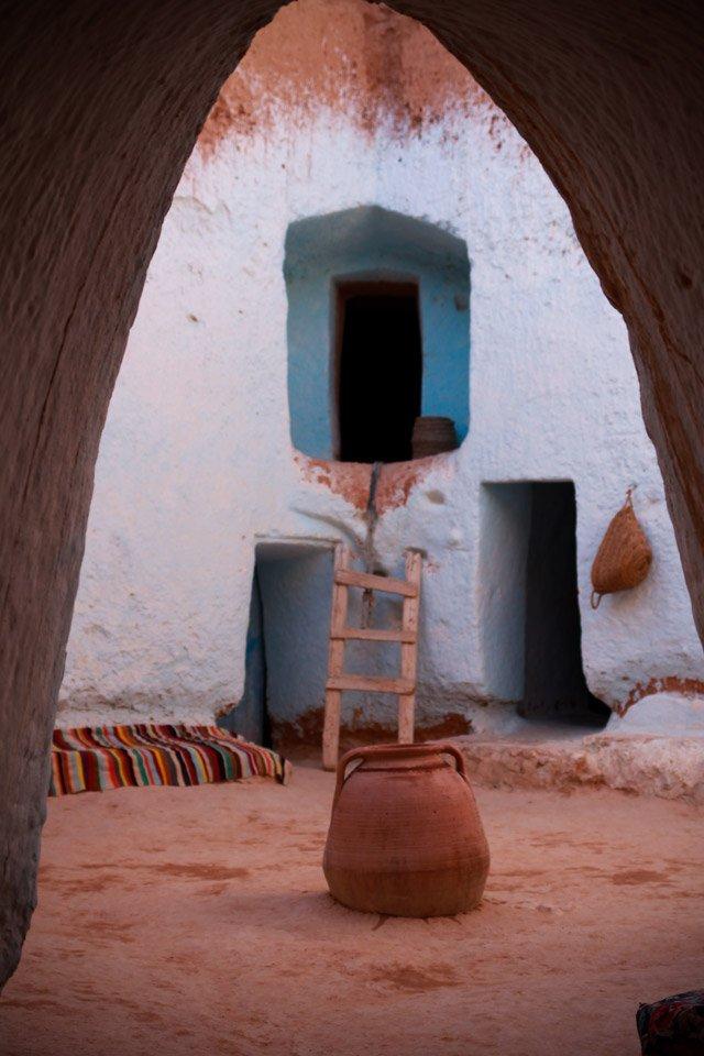 Casa troglodita en Matmata, Túnez.