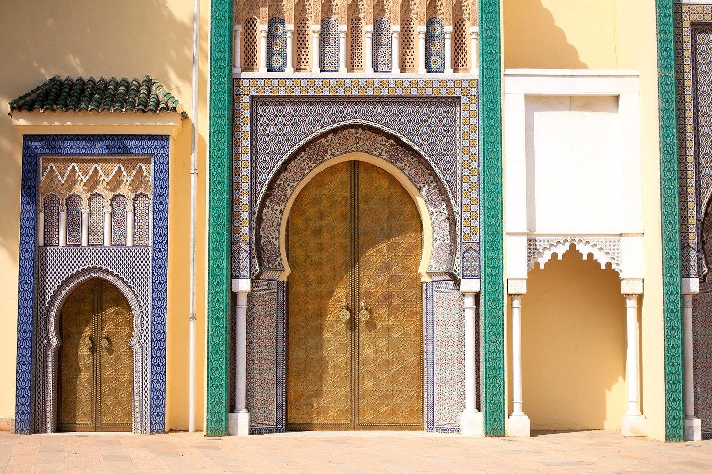 Puertas del Palacio Real de Fez, Marruecos.