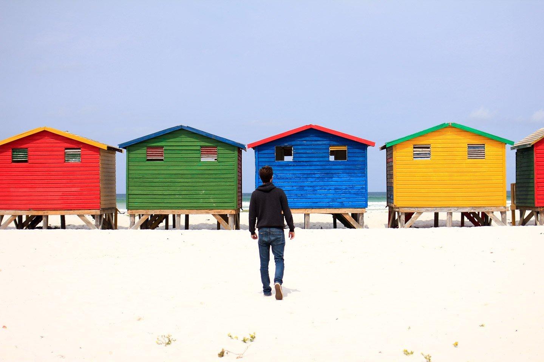 Casitas en la playa de Muizenberg.
