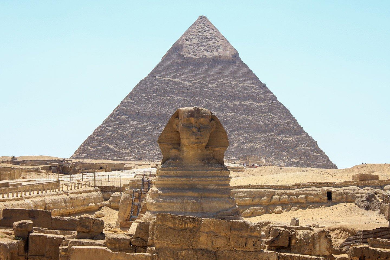 Esfinge y la Pirámide de Kefren.