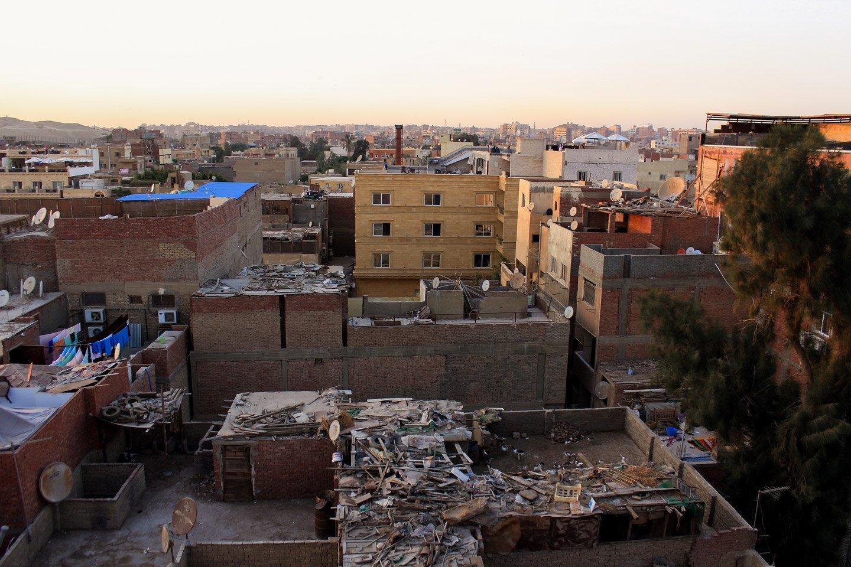 Vista de las casas en Guiza, El Cairo.