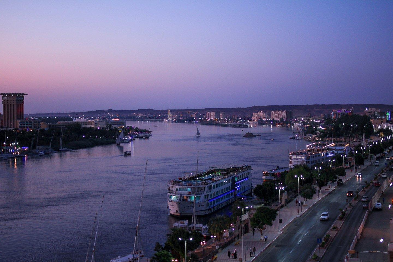 Vista del Río Nilo desde Asuán.